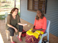 Rachel Nordlinger working with Theodora Narndu, May 2009 in Wadeye