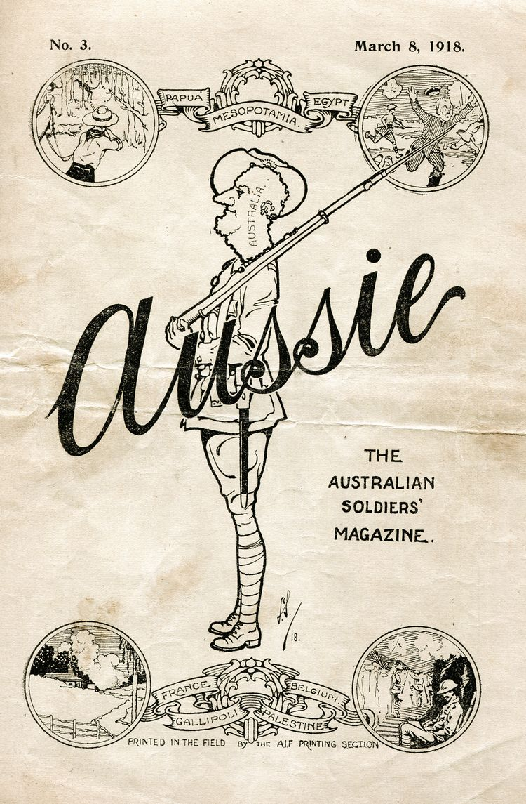 cartoon of a man holding a gun with the heading Aussie
