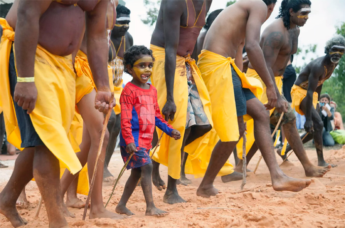 Members of the Gumatj clan perform ceremonial dances at opening of the Garma Festival 2016. Picture: Melanie Faith Dove, Yothu Yindi Foundation