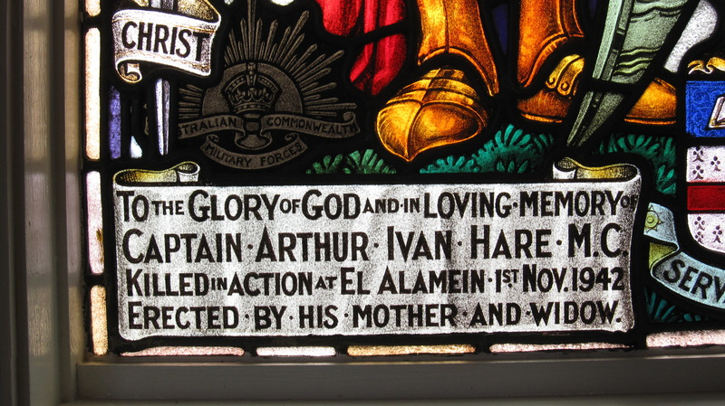 Image of a war memorial window in the Ballarat Grammar Scool chapel