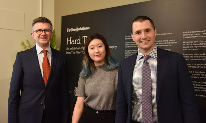 Gina song with Dean of the Faculty of Arts Russell Goulbourne and Adam Kershaw, General Manager Australia - The New York Times