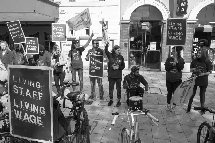 Photo of workers at the Ritzy Cinema, Brixton striking for a Living Wage in 2014