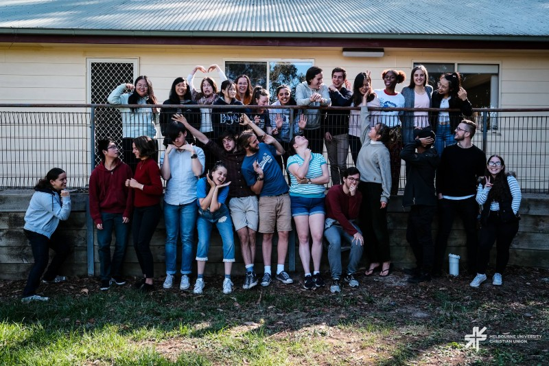 Arts students posing for group photo at Faculty of Arts camp