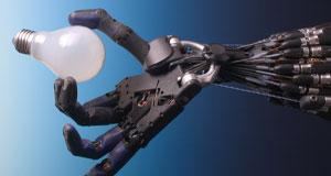 Shadow Dexterous Robot Hand holding a lightbulb' by Richard Greenhill and Hugo Elias of the Shadow Robot Company
