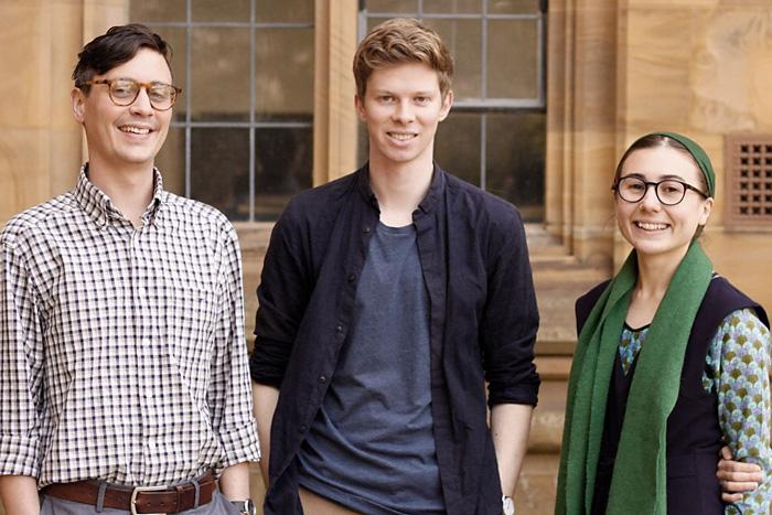 Recipients of the Hansen Trust PhD Scholarships in History: Nathan Gardner, Max Denton, and Bronwyn Beech Jones
