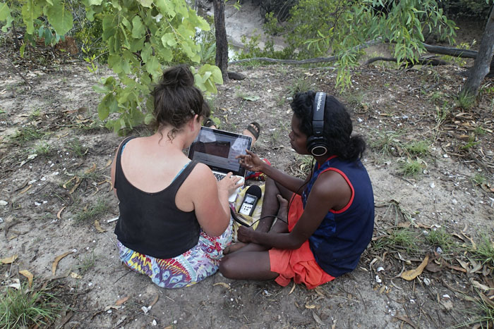 Researcher Lucy Davidson and Murrinhpatha language consultant Joseline Perdjert transcribing children's speech, near Wadeye, Northern Territory