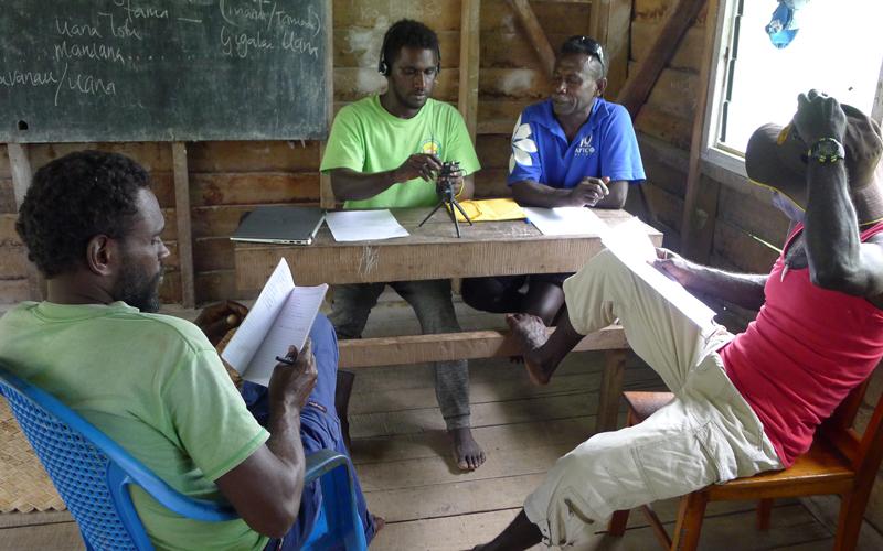 John Poa Lokapitu (holding recorder) and Kenneth Roga interviewing Hatakiko Muma and Zeberti Toribule at the Kulu Language Institute, Ranongga, 6 Sept 2019