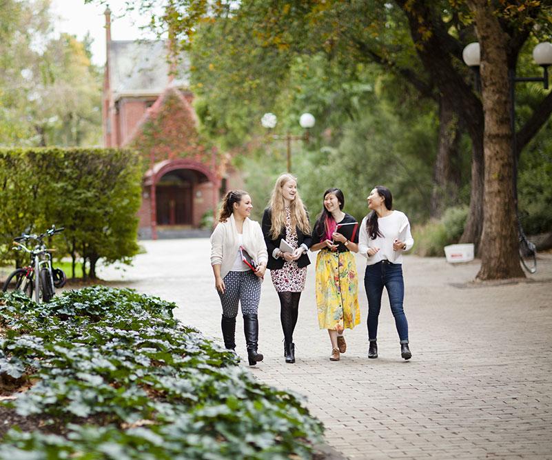Students walking along Professors Walk