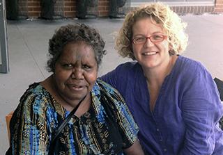 Senior Arrernte teacher Carmel Ryan and Susan Poetsch