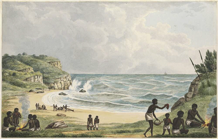 Joseph Lycett. [Aborigines cooking and eating beached whales, Newcastle, New South Wales c. 1817