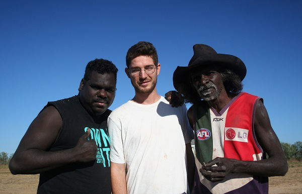John Mansfield with two research participants, Wadeye 2015