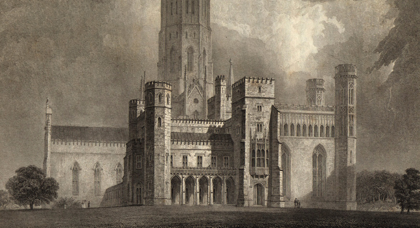 The south front of Fonthill Abbey in Wiltshire, England from John Rutter's Delineations of Fonthill 1823 (detail) CC PD-US