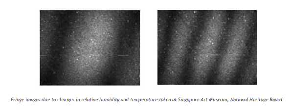 Fringe images due to changes in relative humidity and temperature taken at Singapore Art Museum, National Heritage Board
