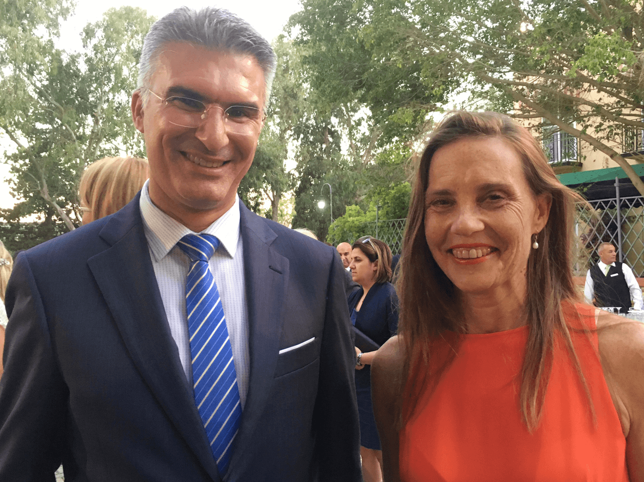 Australian High Commissioner to Malta Julienne Hince with Malta's Foreign Minister Mr Carmelo Abela.