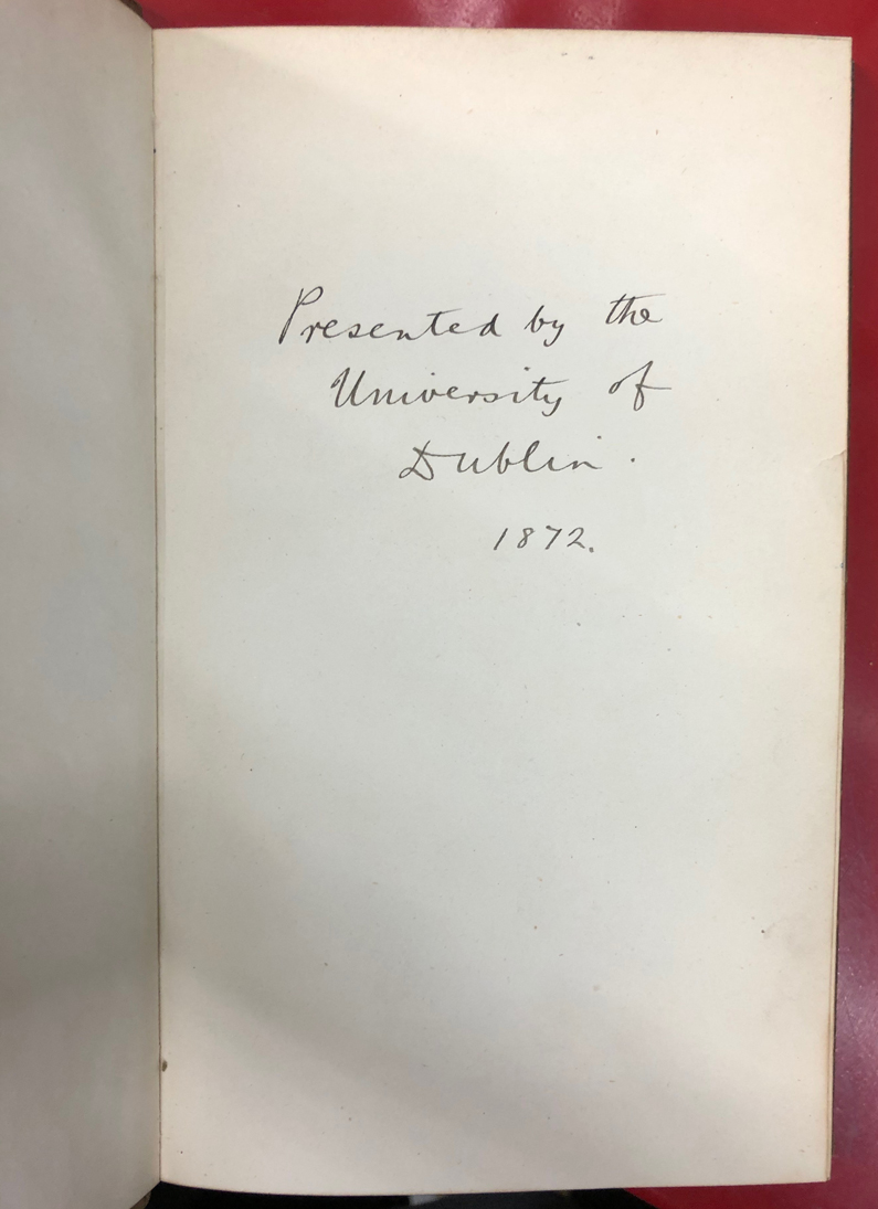 Fitzgerald edition, gifted to the University in 1872