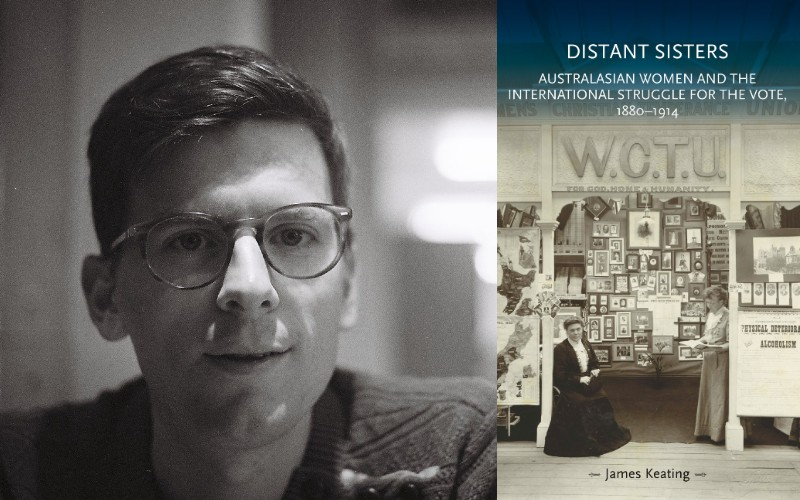 An image of the Distant Sisters book cover and authour James Keating