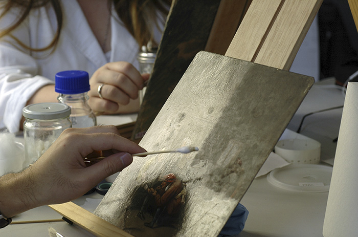 Conservation treatment of a painting on a copper support by 2011 CCMC Students
