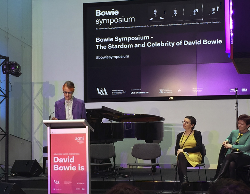 Professor Rachel Fensham giving her Introduction at the launch of the exhibition David Bowie Is