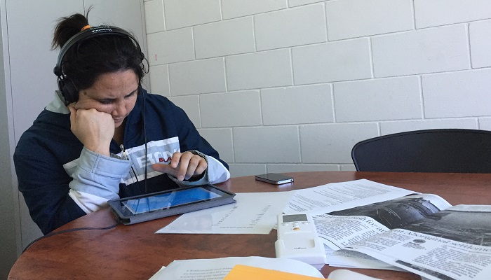 Participant engaged in perception test at Gunditj Mirring Traditional Owners corporation Heywood