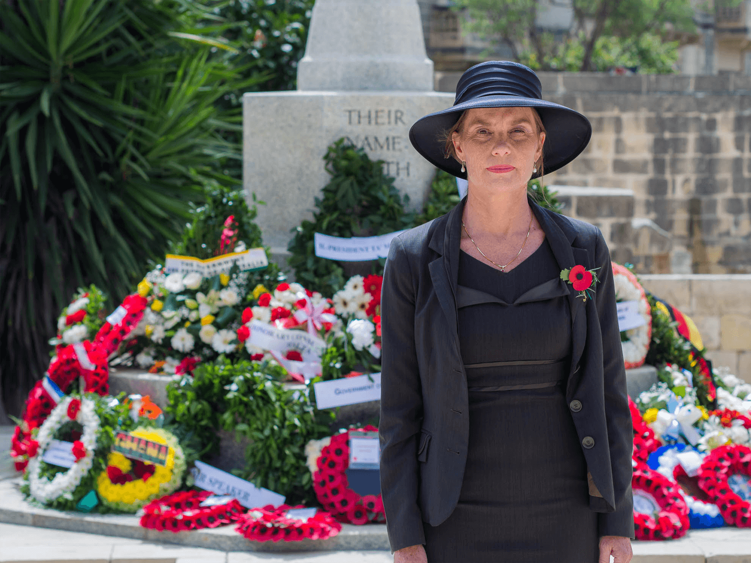 Australian High Commissioner to Malta Julienne Hince at Pieta Military Cemetery in Malta. Anzac Day 2017.