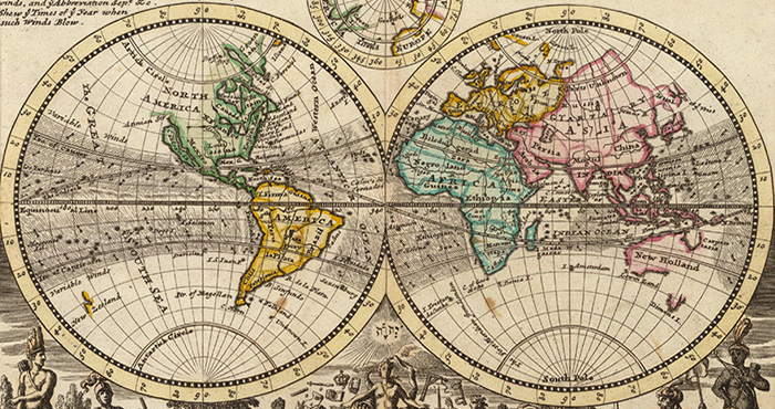 Herman Moll. 'A new map of the whole world with the trade winds' (detail) in Atlas minor, 3rd ed., London 1736