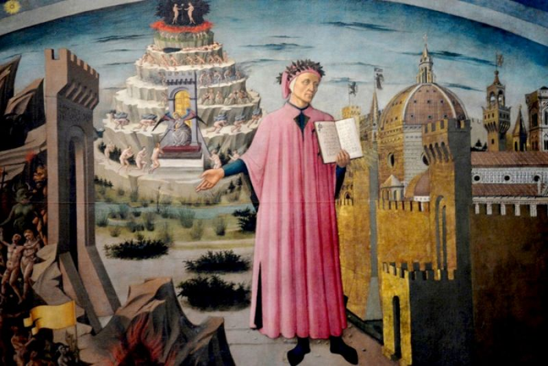 Dante and the Divine Comedy in Duomo. Florence, Tuscany, Italy