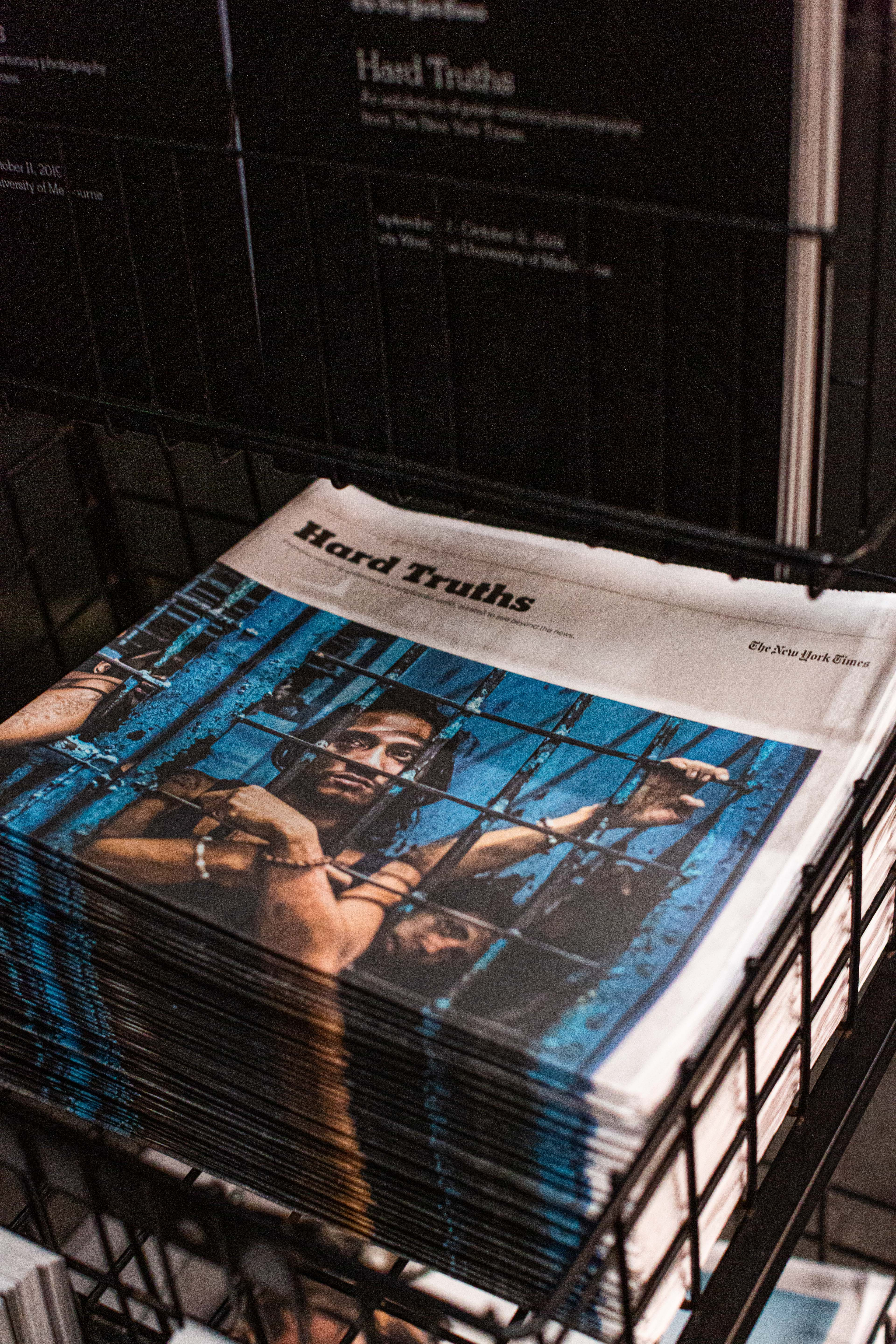 A stack of newsprint features available to visitors