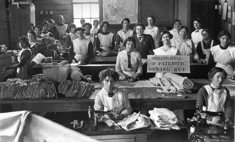 black and white photo of female workers in a biscuit factory