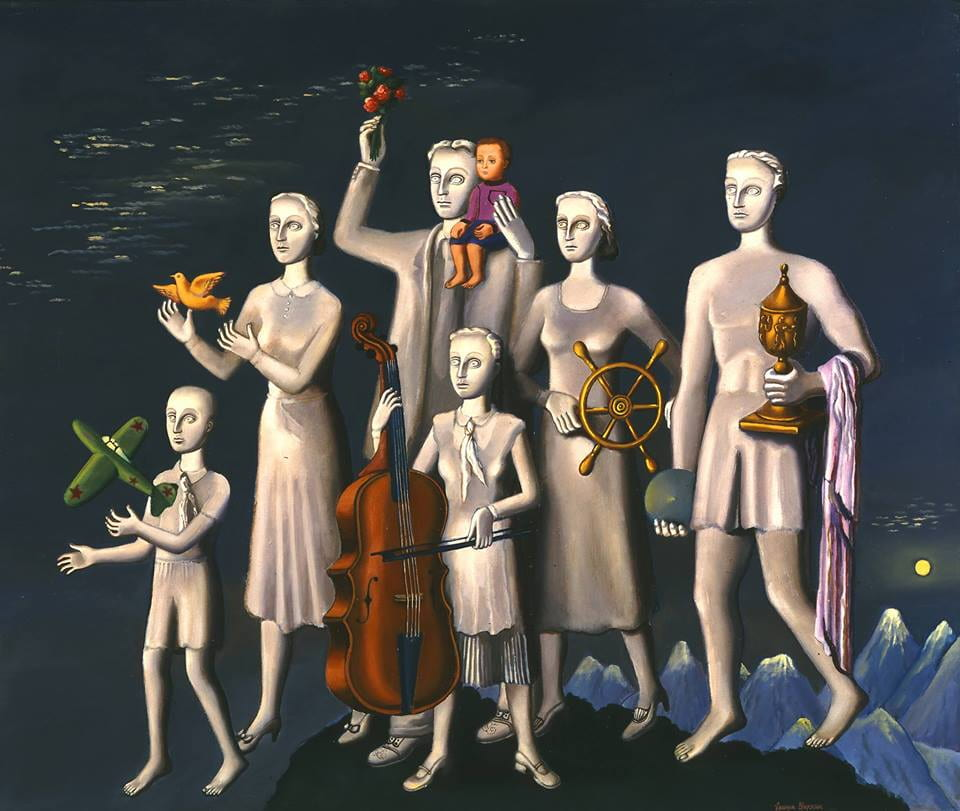 painting of six people holding different items such as a plane, dove and viola