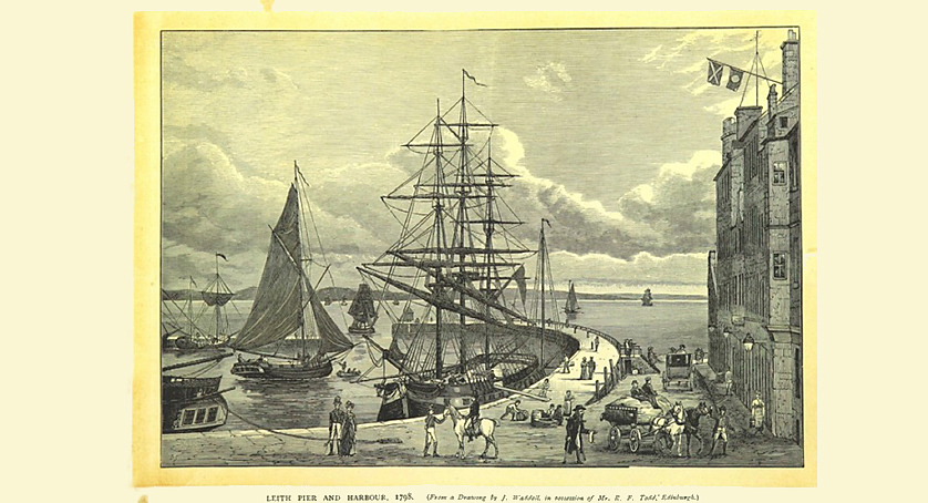 Leith Pier and Harbour, 1798 from a Drawing by J. Waldell