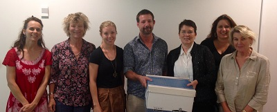 From left: Myfany, Jennifer, Brian, Linda, Rachel and Petronella, with the first box to be digitised