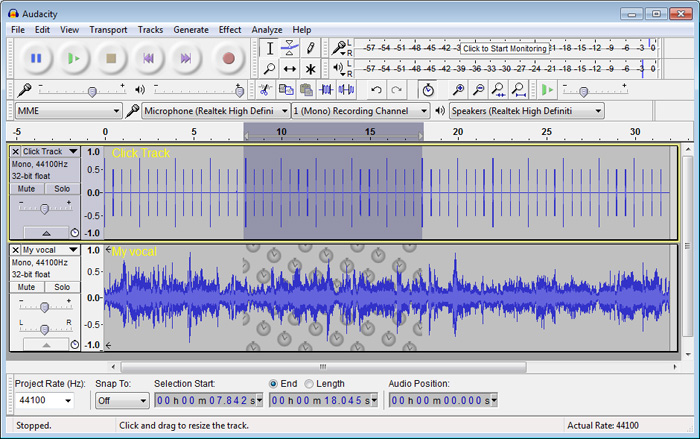 Audacity® running on Windows