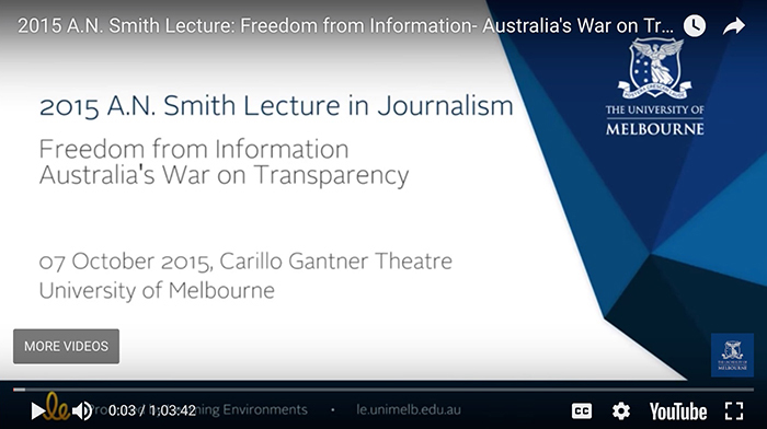 2015 A.N. Smith Lecture in Journalism
