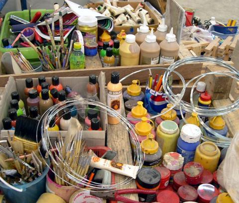 A selection of acrylic paints for mural paintings in Thailand.