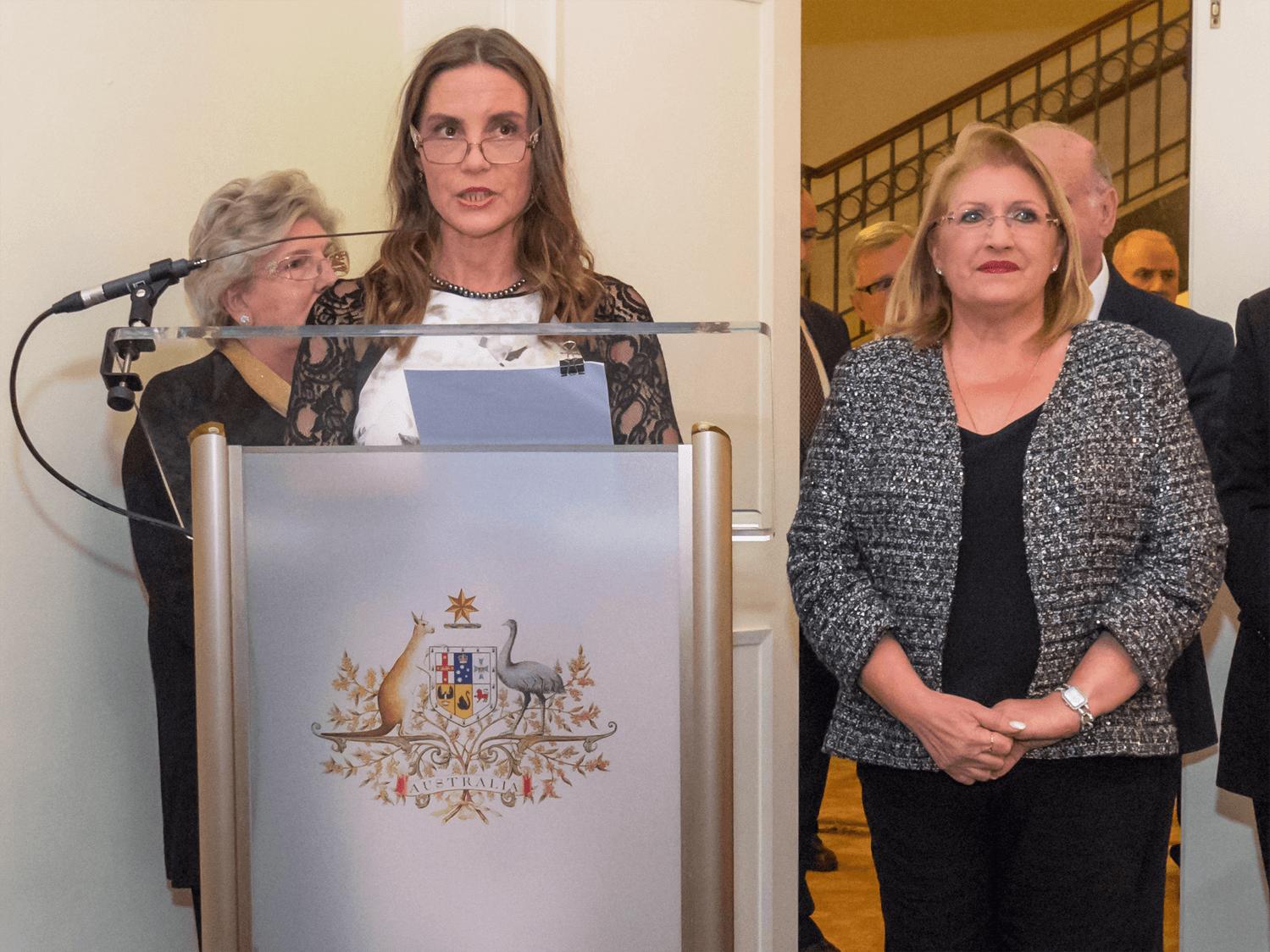 Australian High Commissioner to Malta Julienne Hince with Malta's President Marie-Louise Coleiro Preca, on Australia Day 2017.