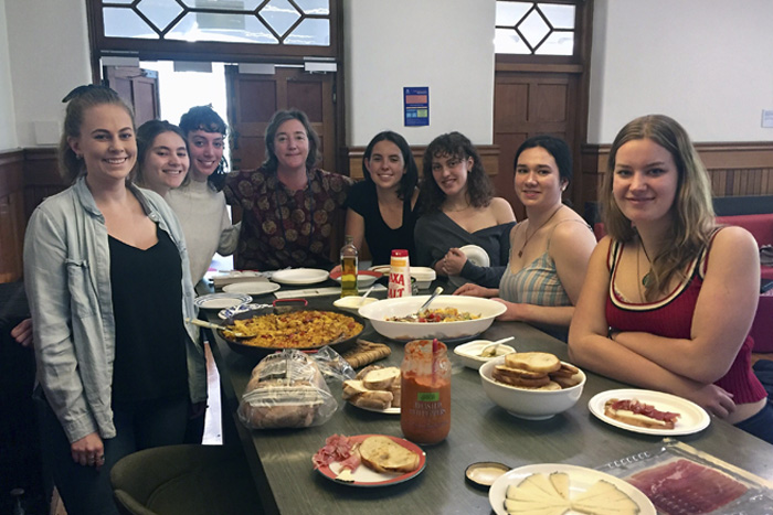 Associate Professor Lara Anderson and students from the cultural elective Cooking up the Nation