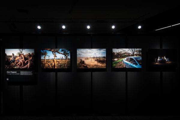 Adam Ferguson's photo series displayed within the exhibition