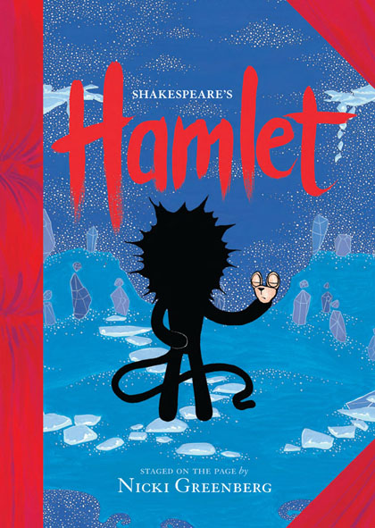 The book cover of Shakespeare's Hamlet. Staged on the page by Nicki Greenberg