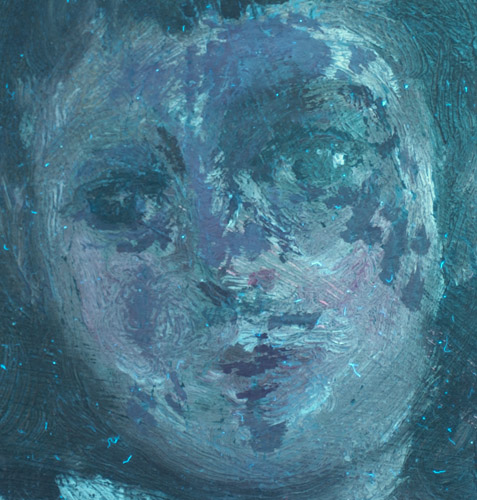 Detail of painting in UV light, revealing areas of retouching on face