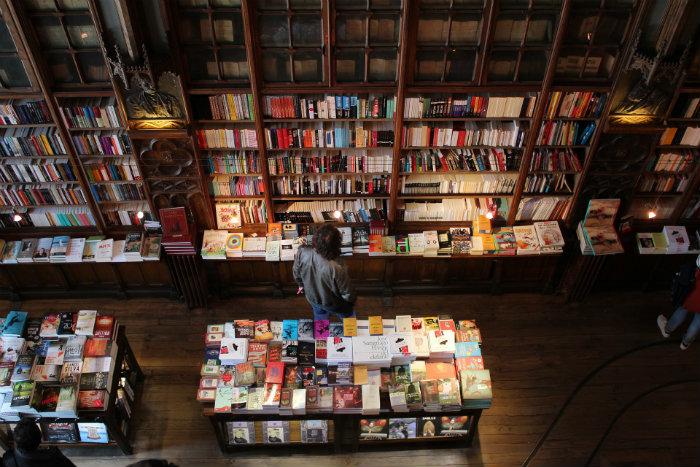 person in bookstore