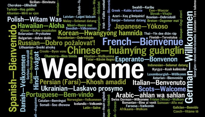 Welcome word in many languages