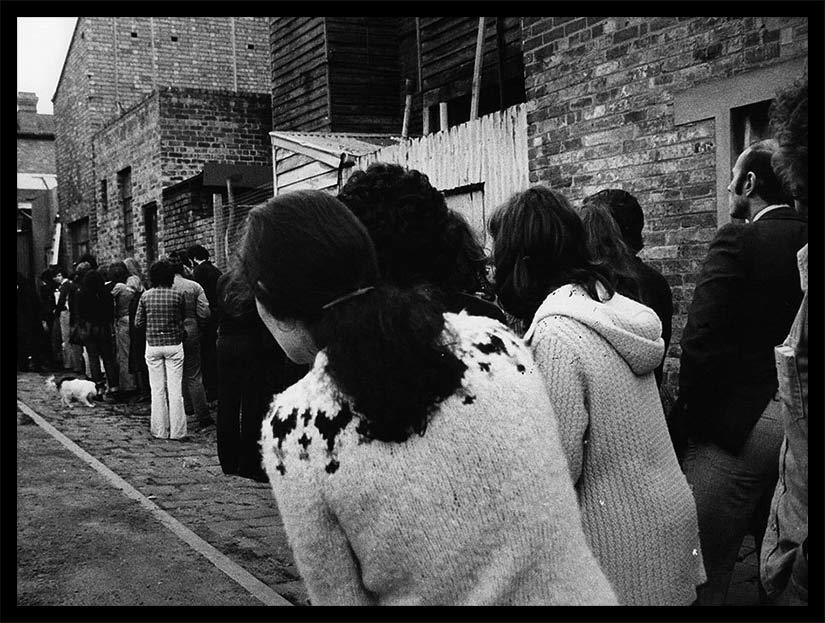 Waiting in line for David Williamson's brutal suburban comedy The Removalists - La Mama Theatre 1977