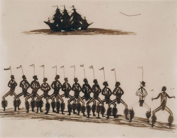 Tommy McRae (Australian c1830s-1901) 'Ceremony with Buckley and sailing-ship' c.1880s