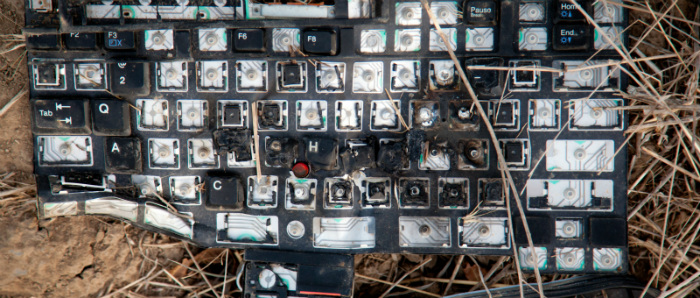 smashed keyboard on ground